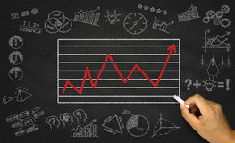 business chart on blackboard Royalty Free Stock Photo