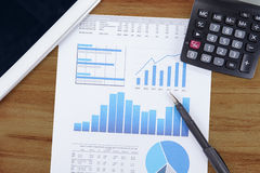 Business chart, calculator, and digital tablet 1 Stock Photography