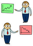 Business chart cartoon. Cartoon style illustration of two opposite stock trend graphic charts with happy and unhappy businessmen Stock Image