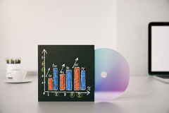Business chart on CD cover Stock Photos