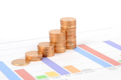 Business chart and coin Royalty Free Stock Photo