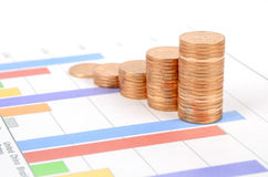 Business chart and coin Royalty Free Stock Image