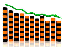 Business chart collapse of orange black boxes Royalty Free Stock Photos