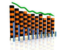Business chart collapse of orange black boxes Stock Photos