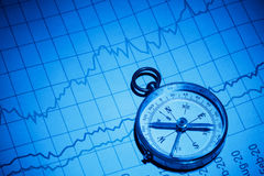 Business chart and compass Royalty Free Stock Photos