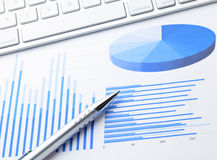 Business chart with computer keyboard Stock Photography