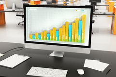 Business chart on computer monitor with other accessories on bla Stock Photography