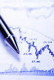 Business Chart - Crash. Blue Business Chart - Crash, Decreasing Graph, Focus On Tip Of Pen Stock Photo