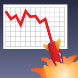 Business chart crashing down. Business chart line with rocket crashing down Royalty Free Illustration