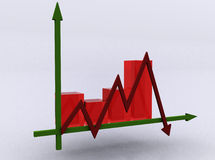 Business chart - crisis. Whith red glass columns Royalty Free Stock Photography