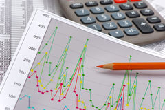 Business chart  with data and calculator Stock Photography