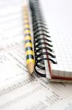 Business chart.Data stock,pencil and pad Royalty Free Stock Images