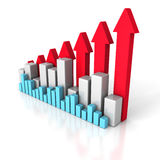 Business Chart Diagram With Growing Up Arrows. 3d Render Illustration Stock Photo