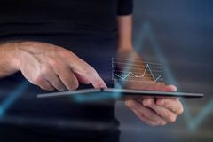 Business chart on digital tablet computer Stock Images