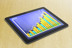 Business chart on digital tablet screen on wooden table. Close up Stock Photo