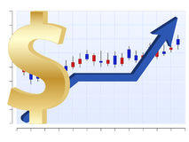 Business chart Dollar. Vector finance graph with dollar symbol and up arrow Royalty Free Stock Image
