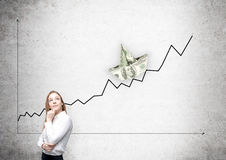 Business chart with dollar boat Royalty Free Stock Photo