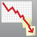 Business chart down. Business chart with line exceeding bottom borders and going on over notes Royalty Free Stock Images