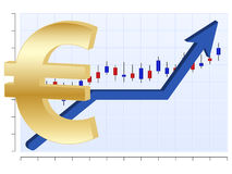 Business chart Euro. Vector finance graph with euro symbol and up arrow Royalty Free Stock Images