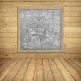 Business chart about finance on Gray board on wood wall Royalty Free Stock Image