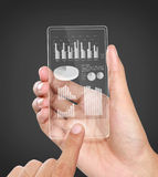 Business chart financial concept on transparent screen Stock Image