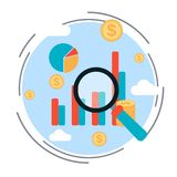Business chart, financial statistics, market analysis, profit increase concept. Flat design style vector illustration Royalty Free Stock Photography