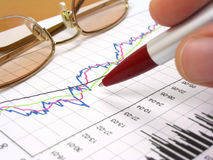 Business chart, glasses and pen. Business chart, glasses and hand holding a pen Royalty Free Stock Photography