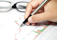 Business chart,glasses and pen stock photos