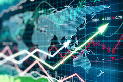 Business chart with glowing arrows and world map Royalty Free Stock Image