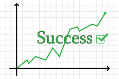 Business chart going up. Illustration of a business chart showing success, rising, growth, progress royalty free illustration