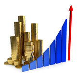 Business Chart and gold coins. On the white background Stock Image