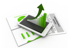 Business chart and graph. 3d illustration of Business chart and graph Royalty Free Stock Photos