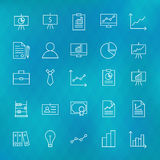 Business Chart Graph and Finance Line Icons Set over Polygonal B. Lurred Background. Vector Set of Line Art Modern Icons for Web and Mobile. Business Money Royalty Free Stock Image