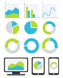 Business chart and graph icons Stock Images