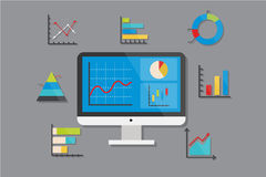 Business Chart and Graph Icons Flat Design Vector Illustration Element Icons Set Royalty Free Stock Photos