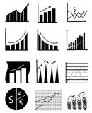 Business Chart And Graph Icons. Business chart and graph icon set in black Royalty Free Stock Images