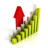 Business chart graph and rising up red arrow. Finance success concept 3d render illustration Royalty Free Stock Image