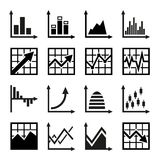 Business chart and graphics icons set.  Royalty Free Stock Images