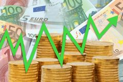 Business chart with green arrow going up on background of golden money stacks and Euro notes - upward trend. Showing growth and properity royalty free stock photography