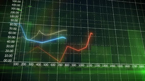 Business chart on a green wall background Royalty Free Stock Photo