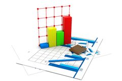 Business chart with growth graph. 3d Business chart with growth graph Royalty Free Stock Photo