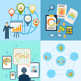 Business chart icon flat composition Stock Image