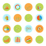 Business chart icons flat Stock Images