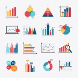 Business Chart Icons Set Flat. Business data market elements dot bar pie charts diagrams and graphs flat icons set isolated vector illustration Royalty Free Stock Images