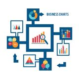 Business chart icons set. Business strategy and statistic charts graphs and diagrams flat decorative icons set vector illustration Royalty Free Stock Photo