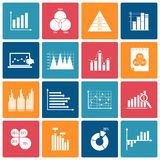 Business chart icons set white Stock Image
