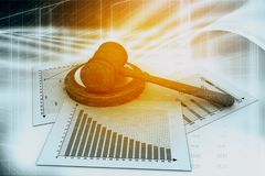 Business chart with judges court gavel. Digital illustration Royalty Free Stock Photography