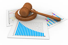 Business chart with judges court gavel. 3d render of Business chart with judges court gavel Stock Photography