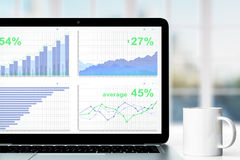 Business chart on laptop screen with cup of coffee on the table Royalty Free Stock Image