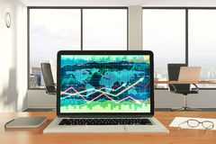 Business chart at laptop screen with diary and eyeglasses on woo. Den table, close up Royalty Free Stock Photos